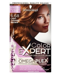 Schwarzkopf Color Expert Omegaplex Colour Cream 6.68 Light Caramel Brown